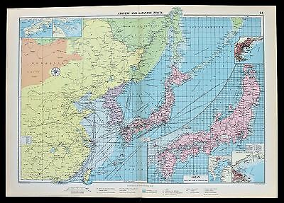 1952 Asia Japan China Map Shanghai Shipping Routes Ports Philips Mercantile RARE