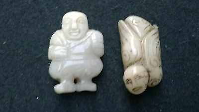 Group of Two Hardstone Quality Serpentine Amulets Bird-Man and Minister.
