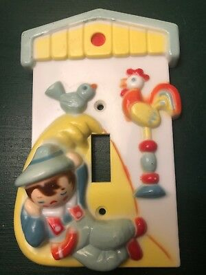 Vintage 1960's Little Boy Blue Switchplate Nursery Switch Plate Cover