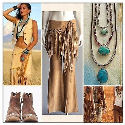 Bebe Fringe Woven Suede Camel Tan Flare Pants Sz Small Western NWT $254