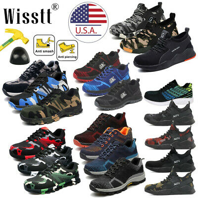 Men's ESD Safety Shoes Steel Toe Steel Sole Breathable Work Outdoor Boots Size U