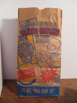 Burger King - The Simpsons Talking Watches - Brown Paper Bag #12 size - 2002