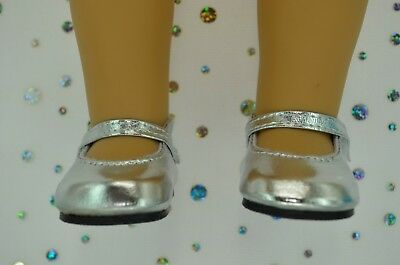 """Dolls Shoes For 17""""Baby Born~18""""American Girl  SILVER MARY JANE SHOES"""