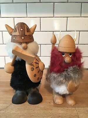 Lot Of 2 Denmark Wooden Viking Figure w/ Helmet Shield Ax And White & Red Beard