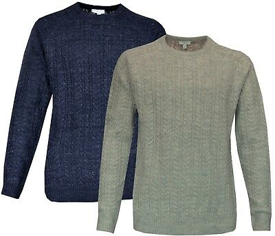 Mens Plain Ex-Chain Store Crew Neck Cable Knit Fisherman Jumper Sweater S-XXL