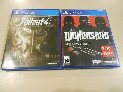 Playstation 4 PS4 Shooter Game LOT (2) Fallout 4/Wolfenstein: The New Order