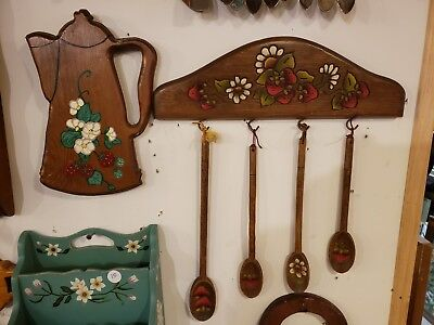 Vintage Wall Hanging Hand Painted Kitchen Spoons Strawberry Flowers 6 Pc Set