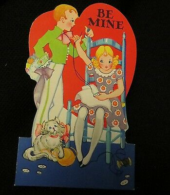 Vintage Sewing & Kitten Valentine Card c. 1930s by: carrington