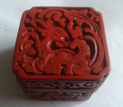 Real Antique Cinnabar Phoenix Chinese Red Lacquer Trinket Box Hinged Blue Enamel