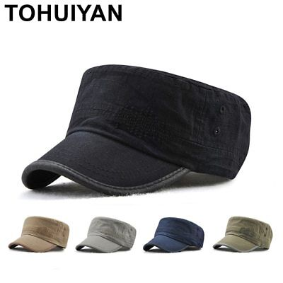 TOHUIYAN Men Women Military Style Cadet Army Cap Solid Color Washed Cotton Flat