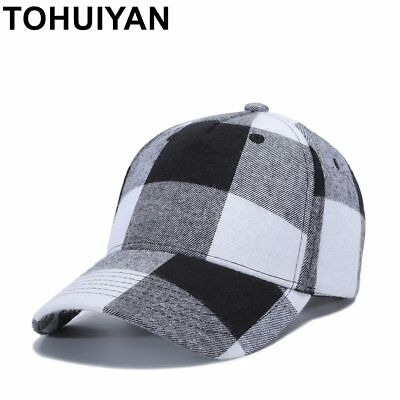 TOHUIYAN Men Women Plaid Cotton Baseball Cap Casual Strapback Golf Hat  Summer cdbeb6385cd5