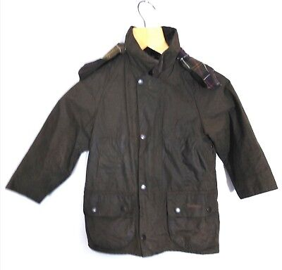 Great genuine Barbour childrens classic Beaufort green wax Jacket 8 years
