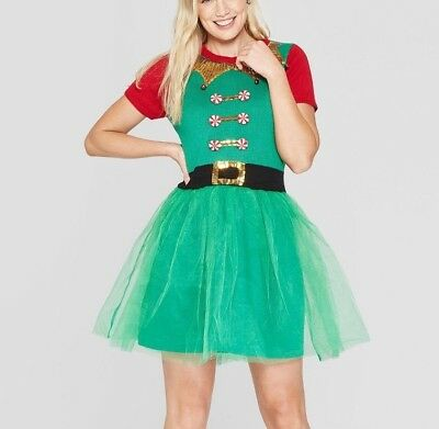 Womens Large Green Ugly Sweater Elf Dress With Tulle Christmas 33