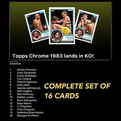 TOPPS CHROME 1938 COMPLETE SET OF 16 CARDS Topps UFC Knockout Digital Card