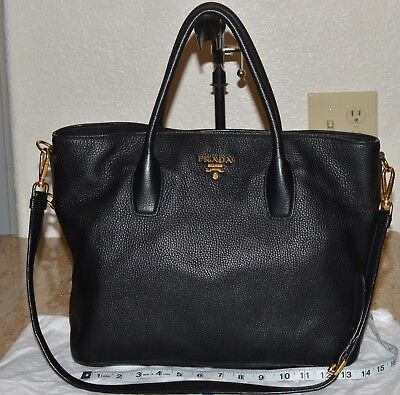 16da3a5de7d4 Prada Vitello Daino Black Leather Satchel Or Crossbody Bag Gold Brass