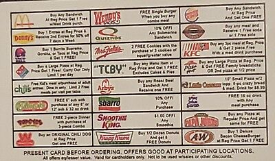 Nationwide Discount Dining Card * 24 Restaurants * Expires 12/2020 * Fast Food