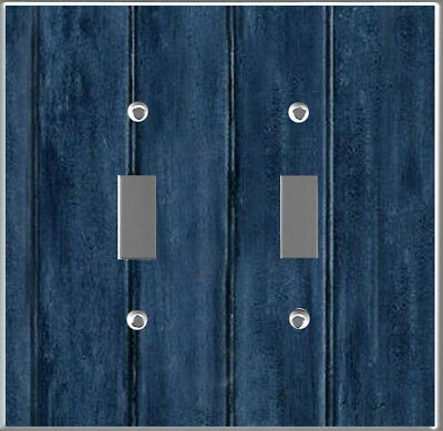 Rustic Navy Blue barn wood plank image Toggle Double wall plate DIY decor