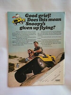 1970 60s 70s Snoopymobile Coot ATV dune buggy ad brochure Snoopy Peanuts vintage