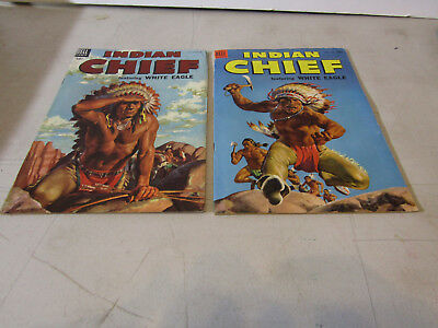 DELL 10c  INDIAN CHIEF WHITE EAGLE COMICS - LOT OF 2 FROM 1950s