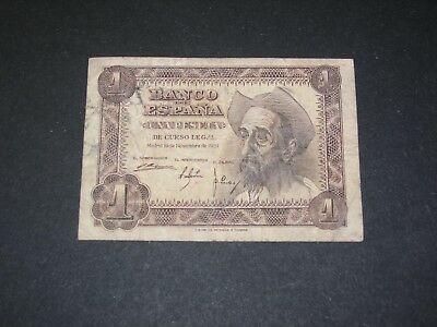 SPAIN 1951 1 PESETA BANKNOTE CIRCULATED    P-139a