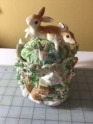 Fitz and Floyd Peaceable Kingdom Rabbits and Fawn Lidded Box