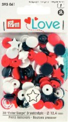 PRYM LOVE SNAPS PRESS FASTENERS - 12.4mm – 30SETS NAVY BLUE,RED &WHITE STARS