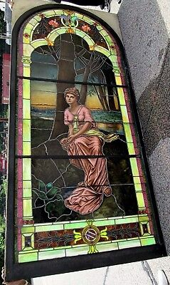 Our Gallery Is Closing ! 10.5' Monumental Jeweled Antique Stained Glass Window