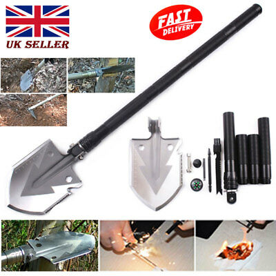 Black Military Folding Spade Shovel Pick Axe Camping Metal Detecting Mini Tool