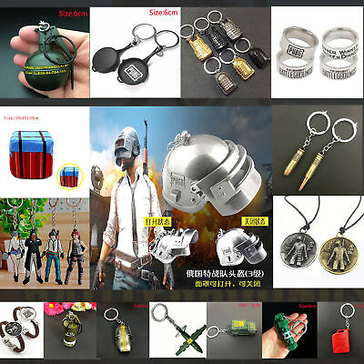 PUBG Pan Helmet Weapon Model KeyChain Ring Necklace Pendant Gift
