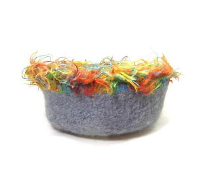 Botswana Stone Blue Felted Wool Bowl With Multi-Color Trim, 4 1/2 X 2 Inch