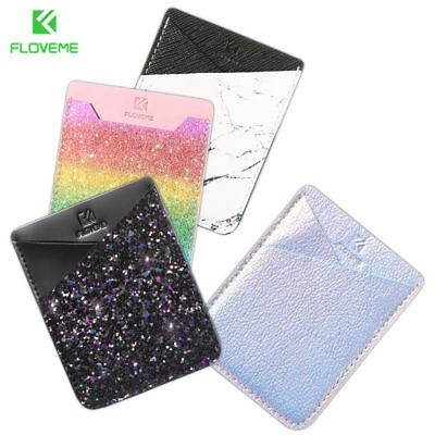 FLOVEME Leather Credit Card Holder Cell Phone Wallet Pocket Sticker Pouch Case