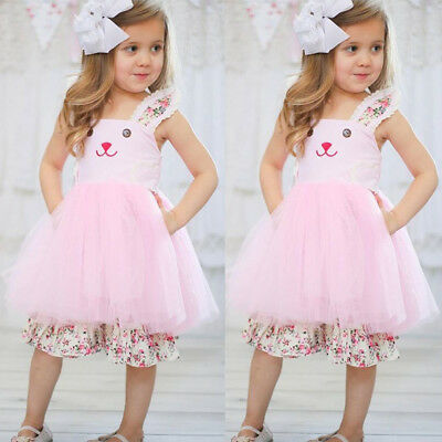 US Toddler Baby Girl Funny Tulle Sundress Easter Bunny Dress Floral Party Outfit