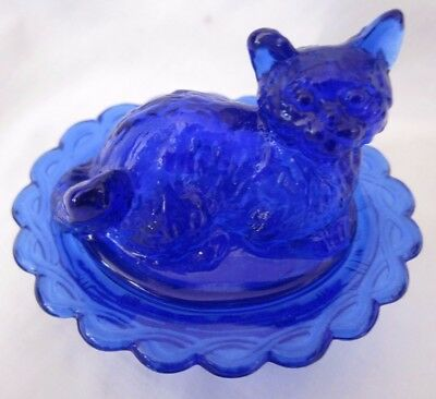Cobalt Blue Cat Nest Salt Dip Butter Cream Glass Kitty Nest Kitten Salt