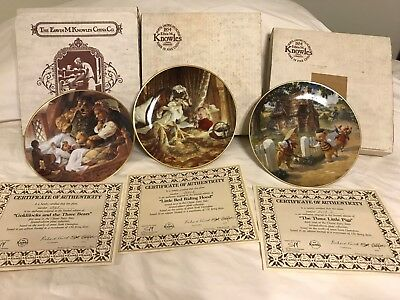 3 Knowles China Fairy Tale Plates Goldilocks Red Riding Hood 3 Little Pigs