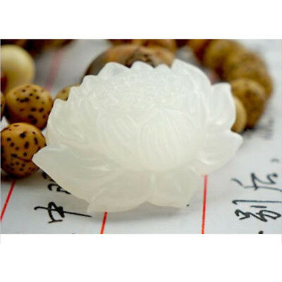 Natural Chinese white jade hand carved lotus lucky pendant,beautiful~~
