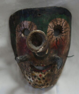 Antique Mexican Man W/Mustache & Big Nose Polychrome Carved Wood Mask