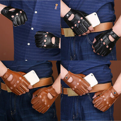 Men Women Goth Thin Faux Leather Fingerless Driving Cycling Short Gym Gloves