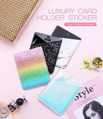 Silicone Credit Card Holder Cell Phone Wallet Pocket Sticker Adhesive Pouch Case