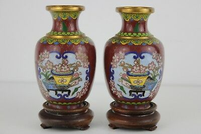 Pair Japanese of Cloisonne Vases on Stands 13cm