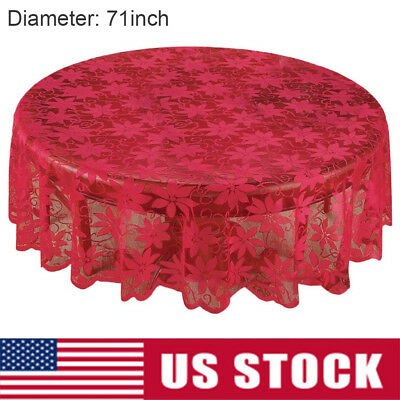 "US Christmas Table Cloth Cover Red Vintage Lace 71"" Tablecloth Home Party Decor"