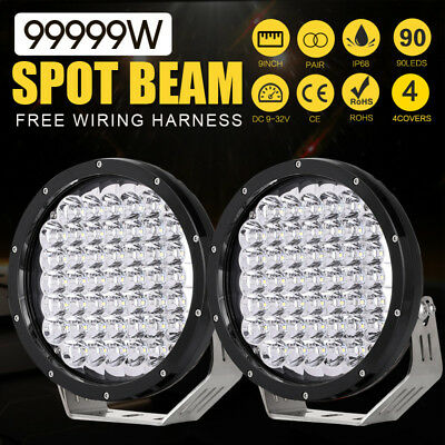 Spotlights Pair 9inch 99999W Cree LED Driving Lights Black Offroad SUV Jeep 4x4