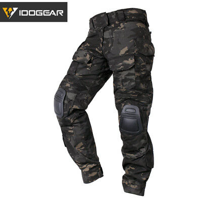 IDOGEAR G3 Combat Pants Tactical Trousers With Knee Pads Airsoft Black Multicam