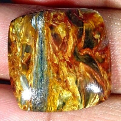 19.00Cts Natural Golden Pietersite Cushion Cabochon Loose Gemstone
