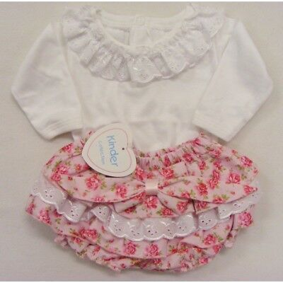 Baby Girls Spanish Style Roses Frilly Jam Pants & White Top Up to 24 Months