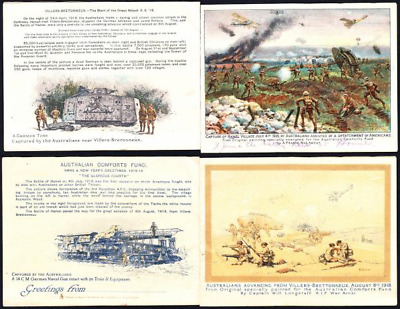 Post World War I folder with 4 'views' of Australians in action July/August 1918