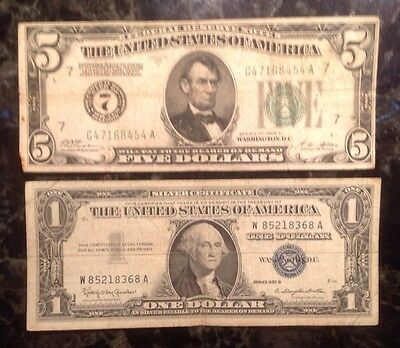 1928 A $5 Federal Reserve Note - Numerical 7  + 1957 B $1 Silver Certificate