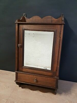 French Antique Medicine Apothecary Cabinet with cut Mirror