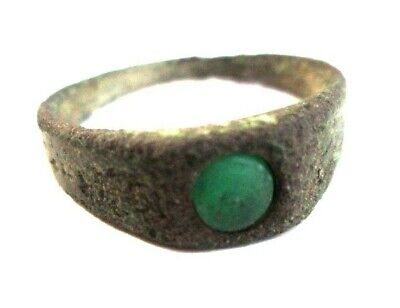 Medieval ancient bronze ring with green stone Roman
