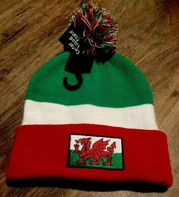 Wales Bobble Hat Gift Knitted National Colours Football