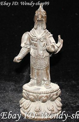 """9""""  China Bronze Ancient Chicken Rooster Animal Head Man People Human Statue"""
